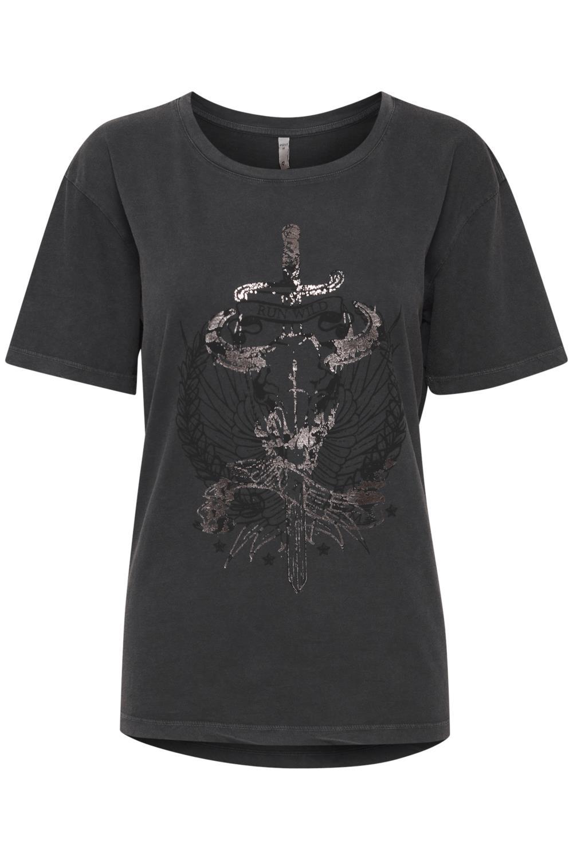Pulz Erica T-shirt, mørk grå/motiv