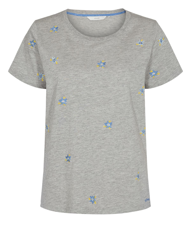 Nümph Lycia T-shirt, lys grå/blomster