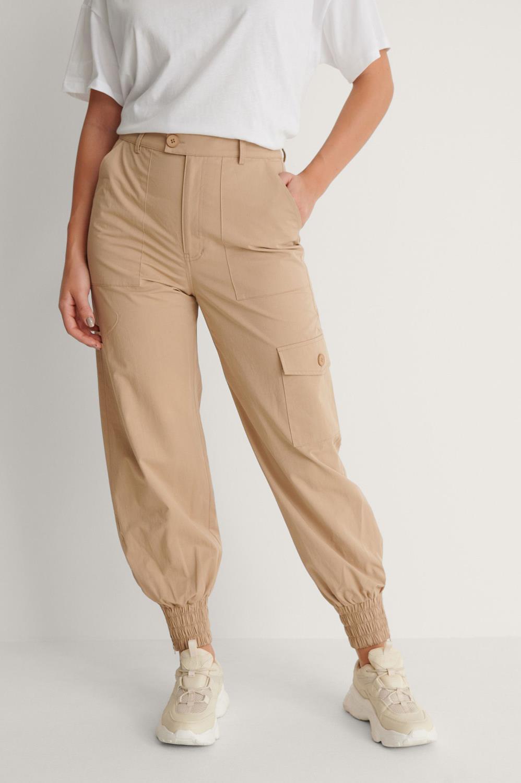 NA-KD Pocket detail pants, khaki