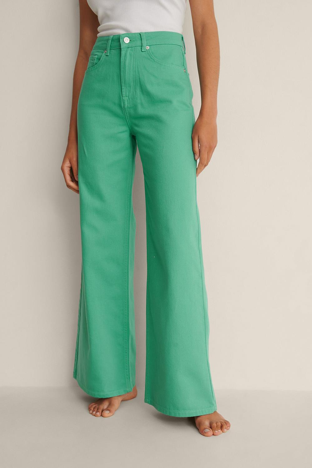 NA-KD colored soft rigid wide jeans, green