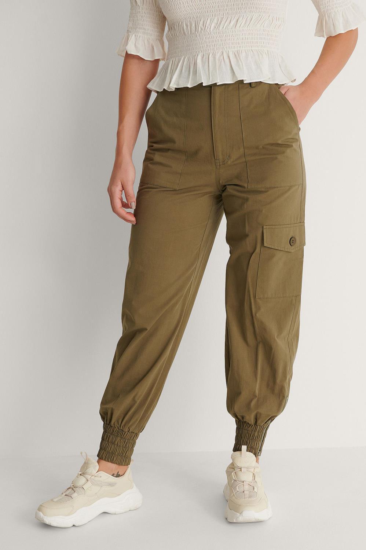 NA-KD Pocket Detail Pants, olivengrønn