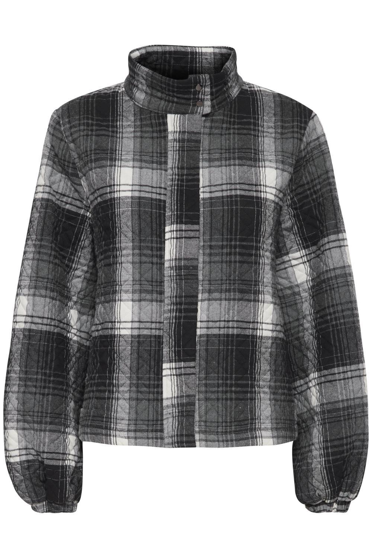 Pulz Lavia rutet jakke, sort/grå
