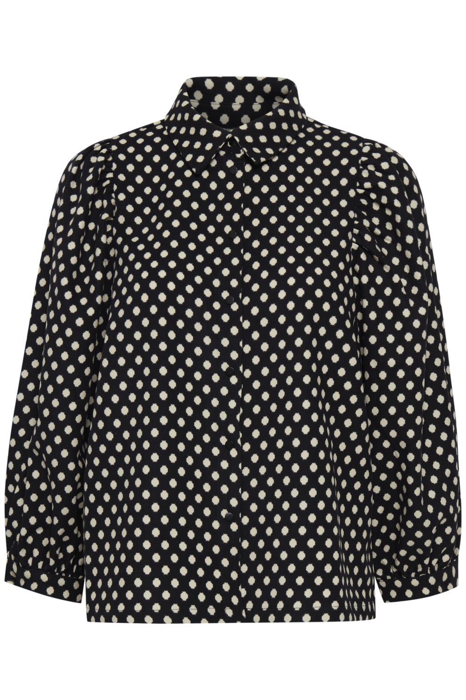 Pulz Charlotte shirt, sort/hvit prikket