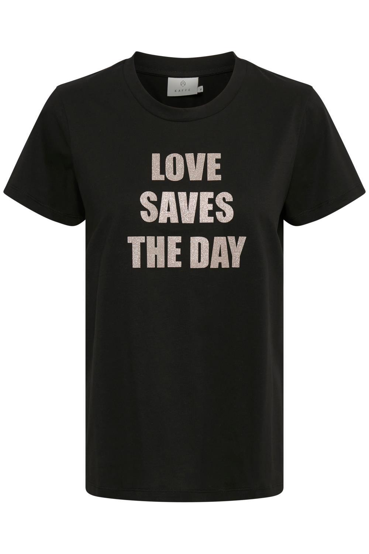 Kaffe Mira T-shirt, sort med trykk