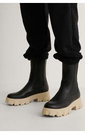 NA-KD Elastic Pofile Boots, Sort/hvit