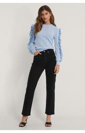 NA-KD Organic Straight High Waist Jeans, sort