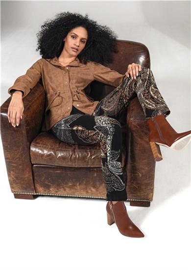 Robell Nena Bukse, mønstret sort/brun