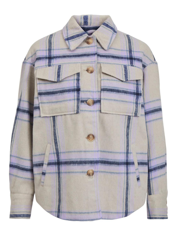 Vila Olive Shacket Shirt, beige/lilla rutet