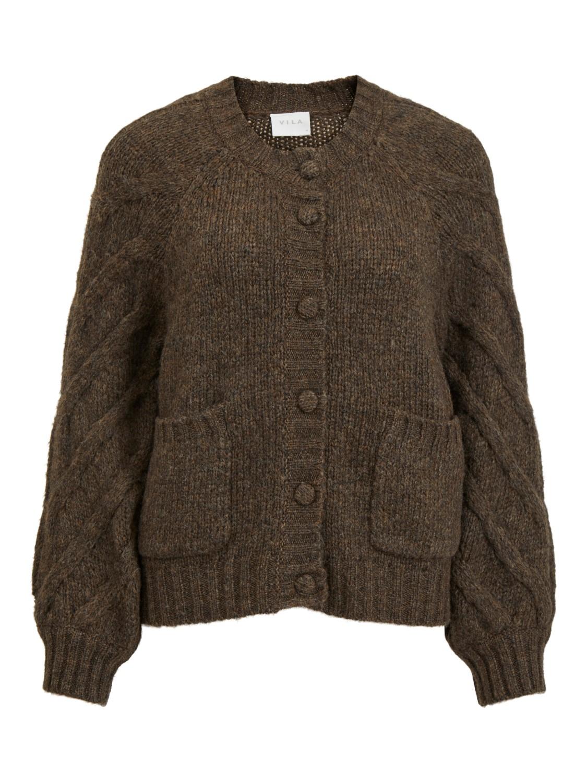 Vila Ci Knit Cardigan, brun flettemønster