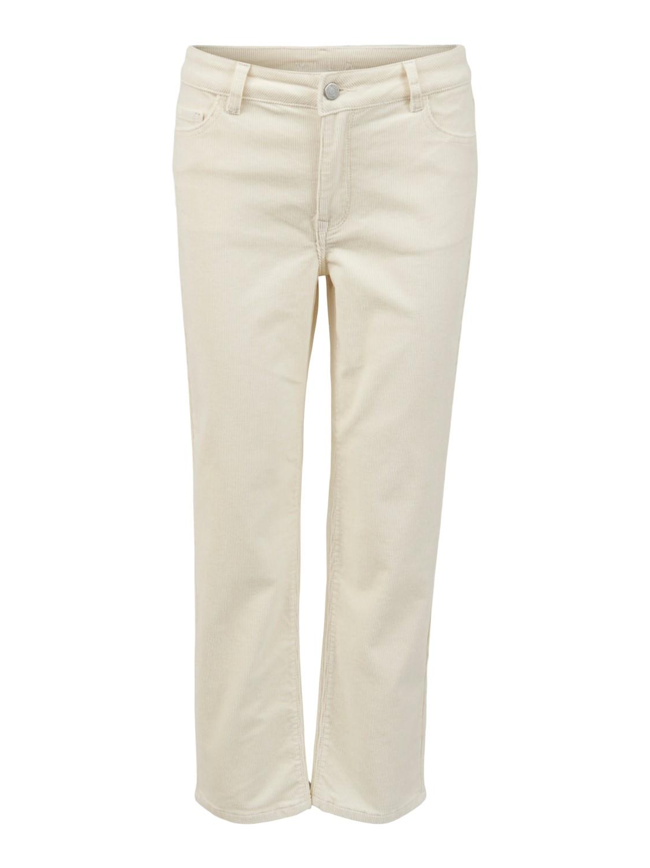 Vila Otas New Cropped Straight Pant, offwhite fløyel
