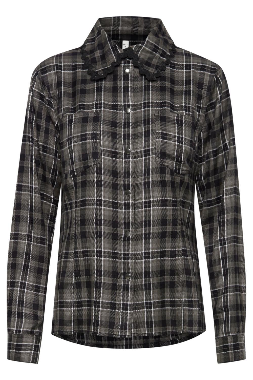 Pulz Sophia Shirt, rutet brun/sort