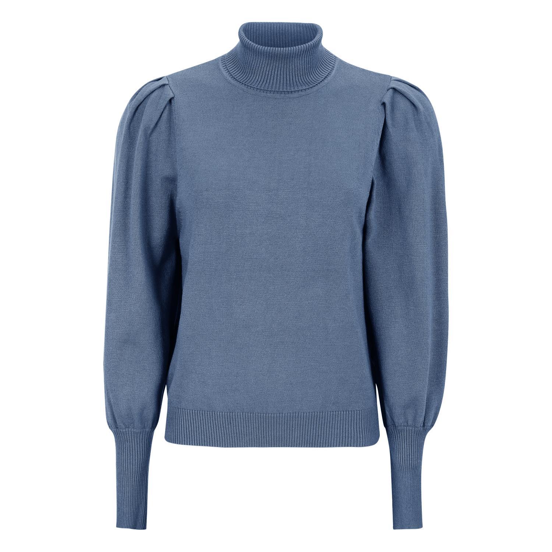 SoftRebels Leana Roll Neck Knit, mellom blå