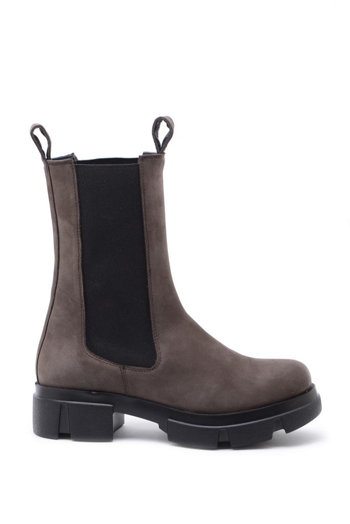 KMB Shoes Nobuc Lyon Brown, høy semsket boots