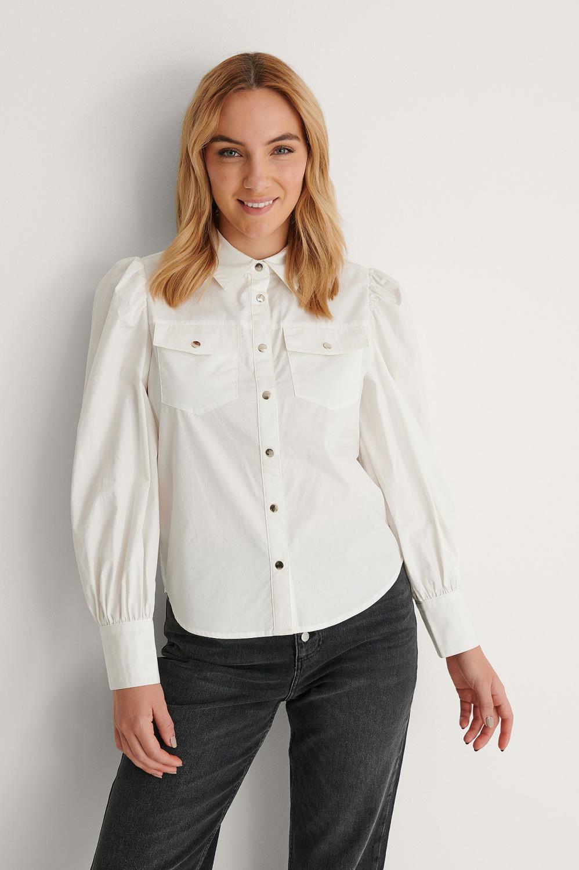 NA-KD puff sleeve shirt, offwhite