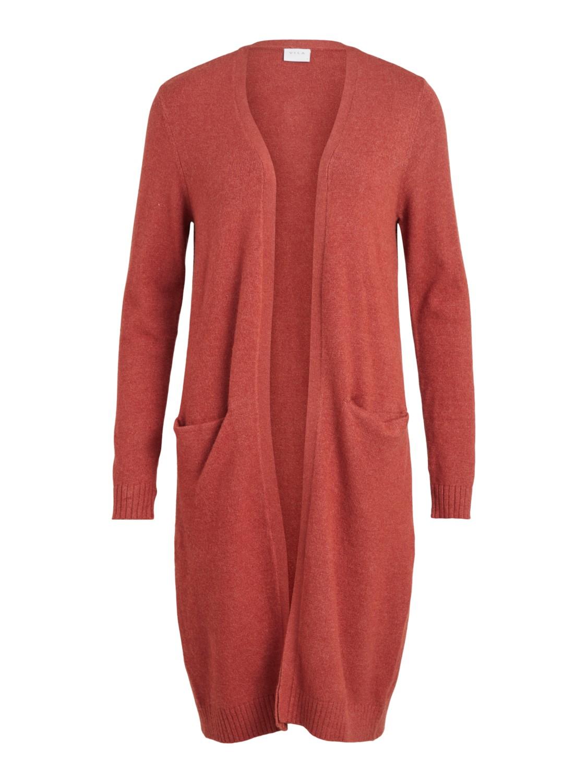Vila Viril Long Knit Cardigan, rust farget