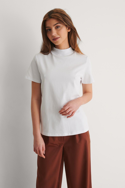 NA-KD high neck T-shirt, offwhite