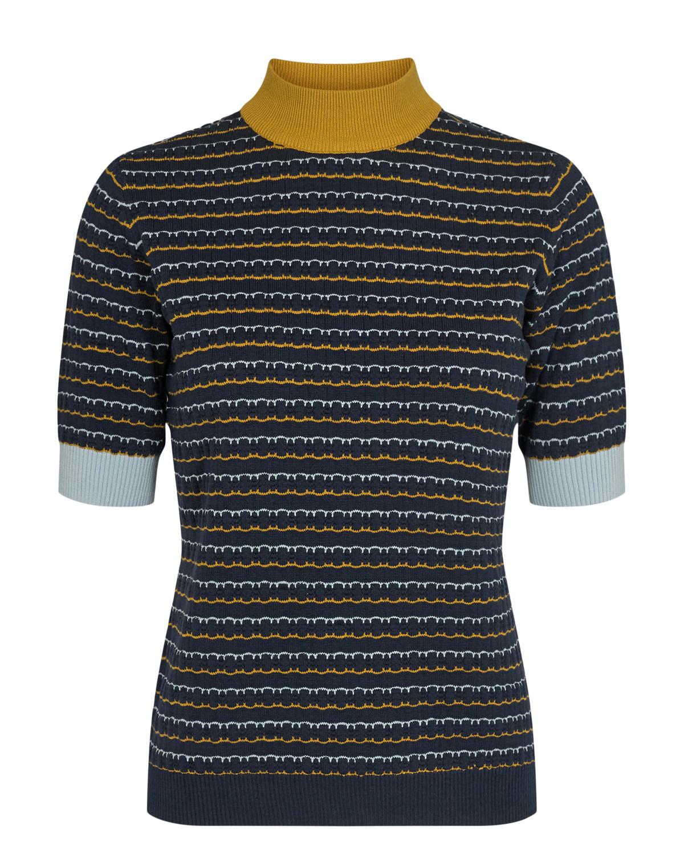 Nümph Carleigh Pullover, marineblå mønstret strikke topp