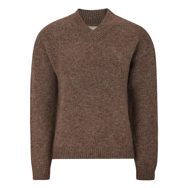 Soft Rebels SRStinne V-neck knit, brun strikkegenser