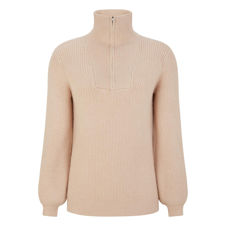 Soft Rebels SRJenny zip knit, beige strikkegenser