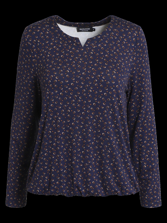 Signature Mønstret T-shirt, blå/gylden