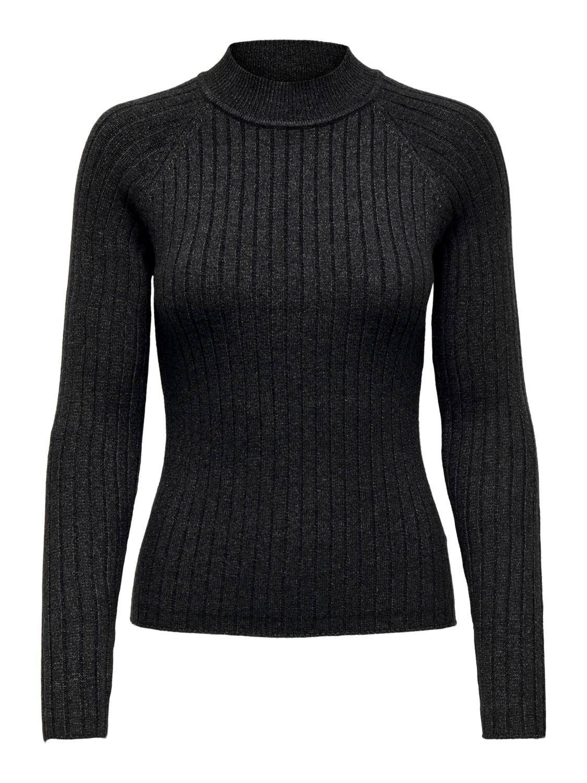 Jacqueline de Young Magda L/S rib pullover knit, mørk grå