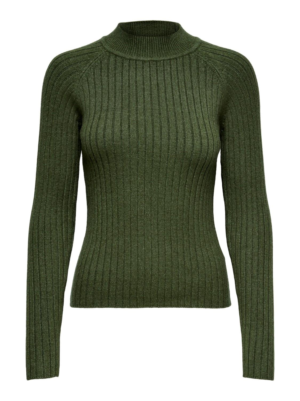 Jacqueline de Young Magda L/S rib pullover knit, grønn