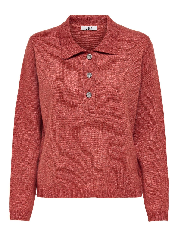 Jacqueline de Young Rue Raya L/S polo pullover, oransje