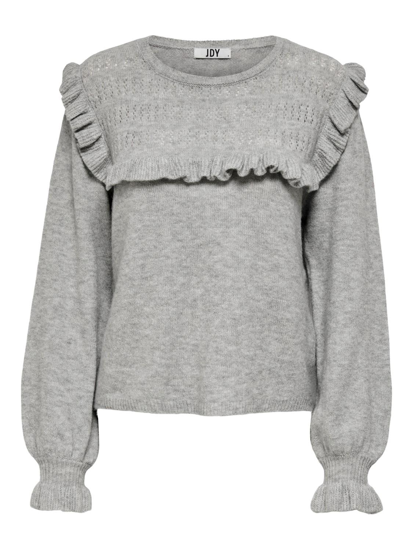 Jacqueline de Young Lisa L/S frill pullover knit, lys grå strikkegenser