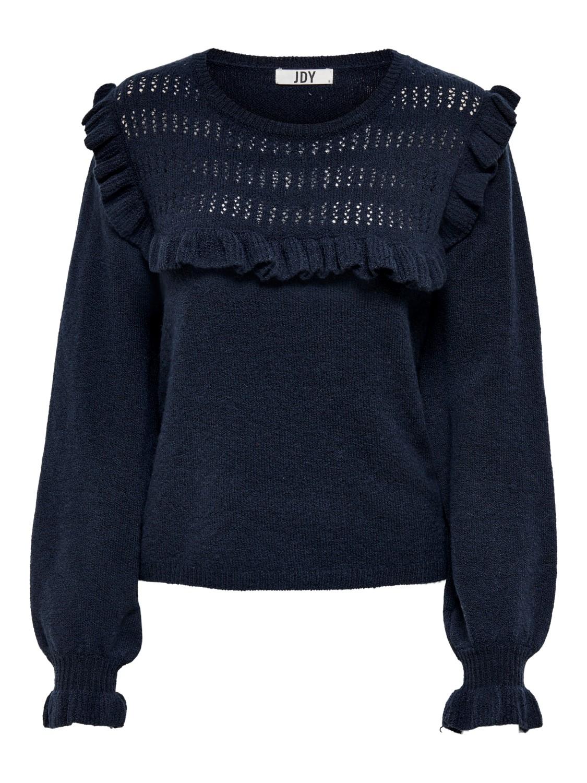 Jacqueline de Young Lisa L/S frill pullover knit, marineblå strikkegenser