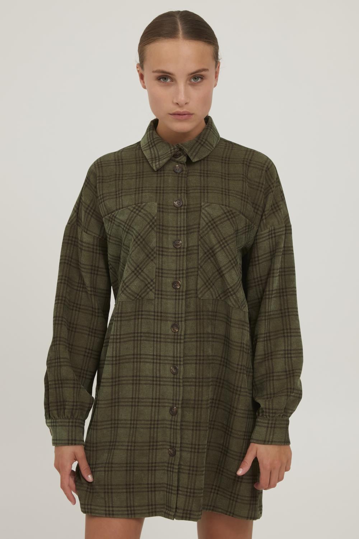 Pulz Lavida Long Shirt, mosegrønn rutet