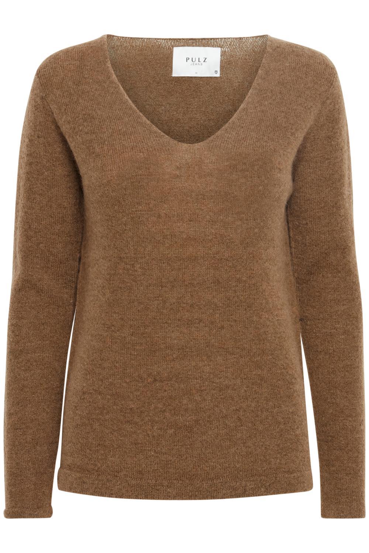 Pulz Astrid Pullover, brun strikkgenser
