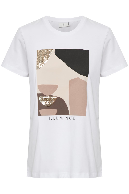 Kaffe Veraja T-shirt, hvit bomull med trykk