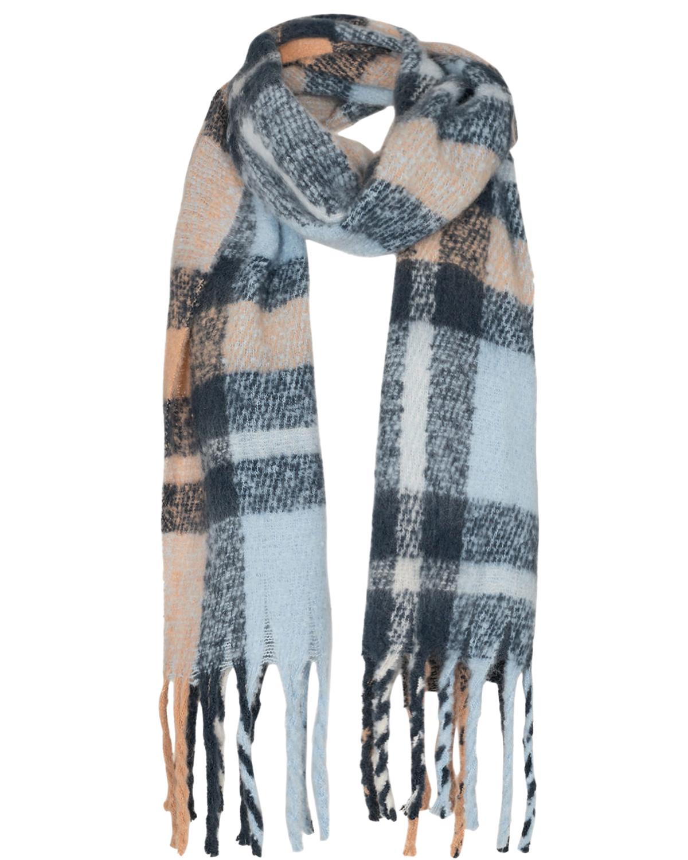 Nümph Allen Knitted Scarf, lysblå/marine,beige