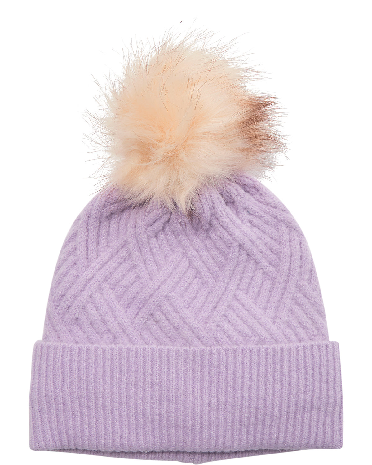 Nümph Cable Knitted Hat, lilla lue med dusk