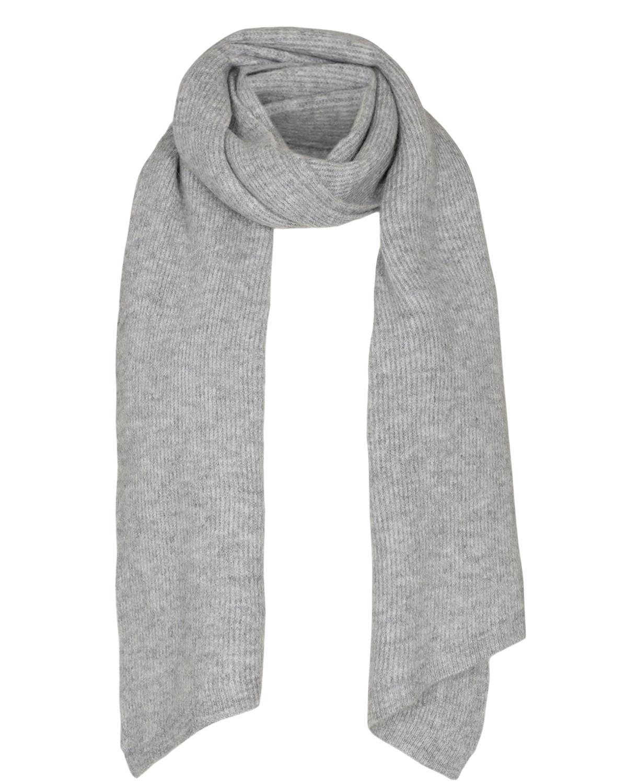 Nümph Allen Knitted Scarf, lysgrå ribbestrikket