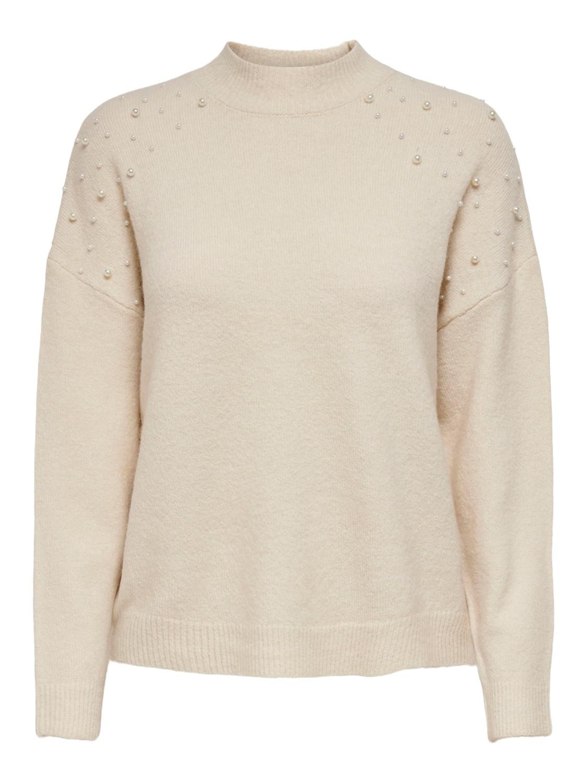 Jacqueline de Young Ziza pearl pullover, offwhite strikkegenser