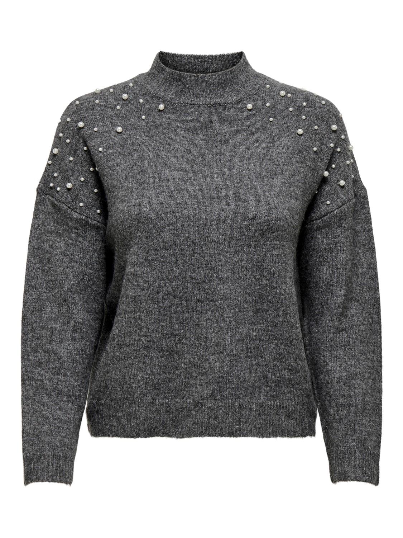 Jacqueline de Young Ziza pearl pullover, mørk grå strikkegenser