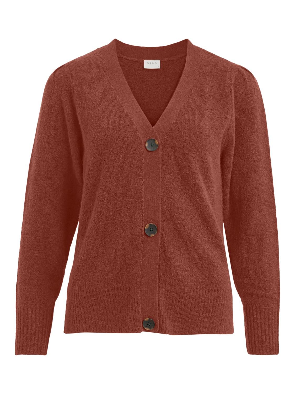 Vila Eshy V-neck L/S knit cardigan, mørk oransje