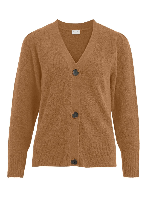 Vila Eshy V-neck L/S knit cardigan, lys brun