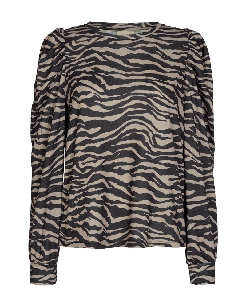 Freequent Elcos pullover, sort/beige mønstret genser