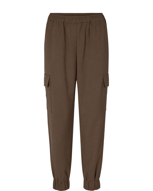 Nümph Willy Pant, brun cargo bukse, strikk i livet