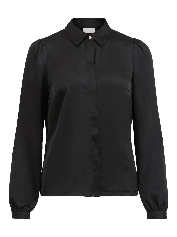 Vila Malione Cuff Shirt, blank sort skjorte