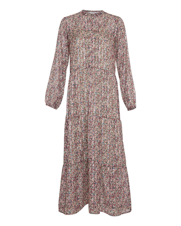 MSCH Kaline LS maxi dress, rosa/blå mønstret