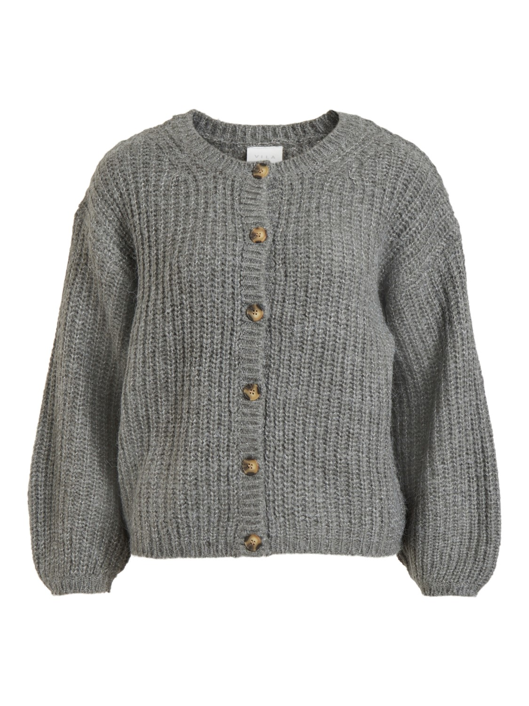 Vila Suba L/S knit cardigan, grå/melert