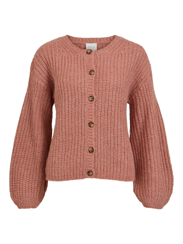 Vila Suba L/S knit cardigan, rosa/melert