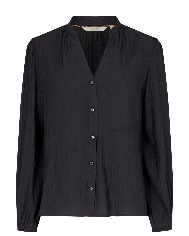Nümph Nanna Shirt, sort bluse med knappning