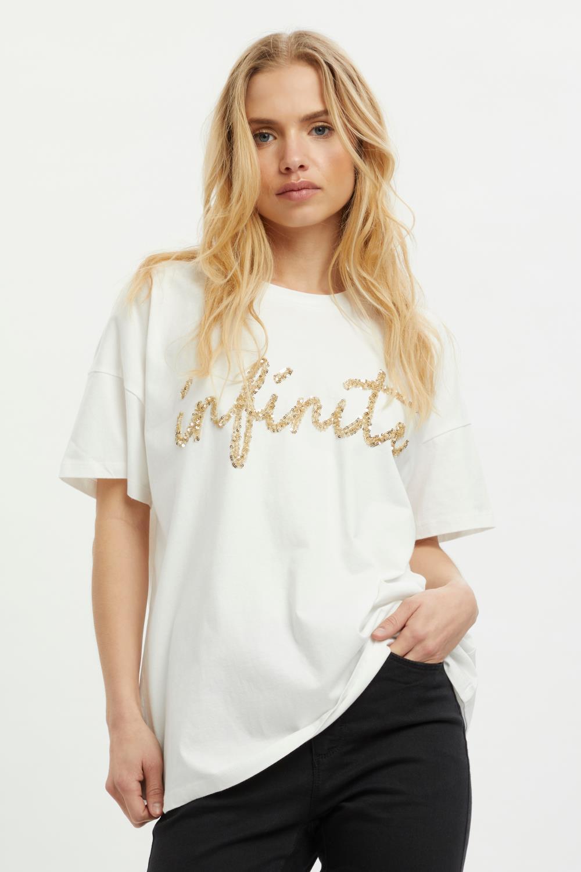 Kaffe Nell T-shirt, offwhite med gullpaljetter
