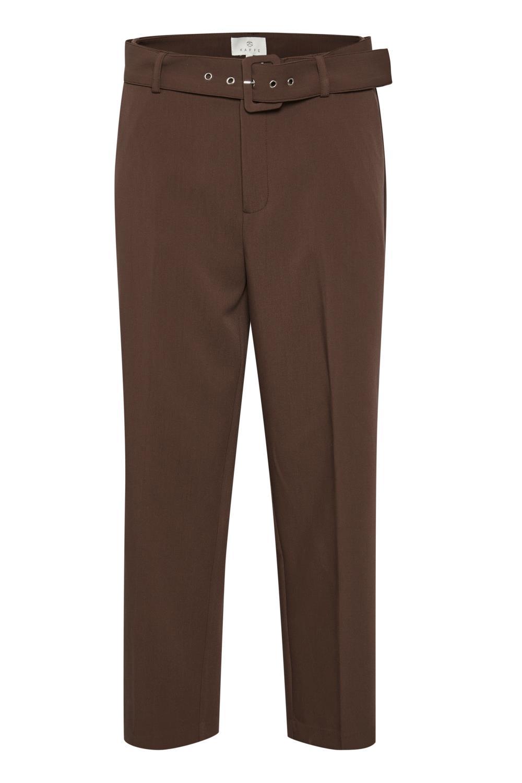 Kaffe Kensa Highwaist Cropped Pants, brun dressbukse