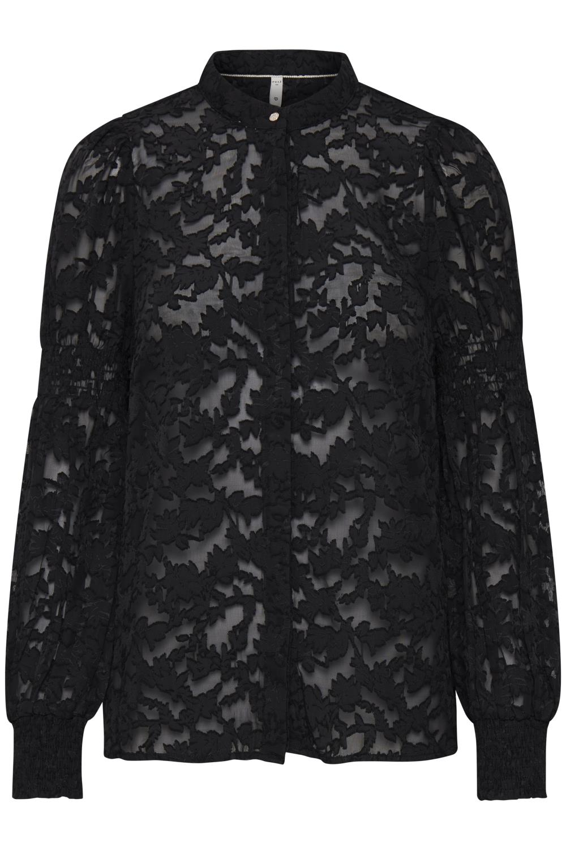 Pulz Francesca shirt, sort bluse