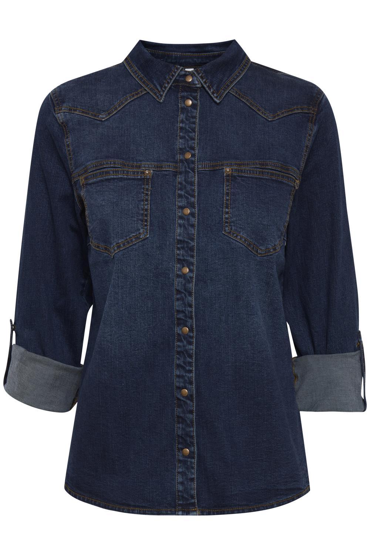 Pulz Josie shirt, blå denimskjorte